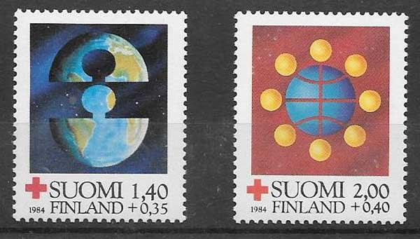 sellos Cruz Roja Finlandia 1984