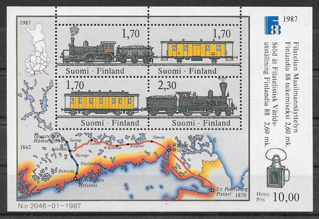 sellos Finlandia trenes 1987