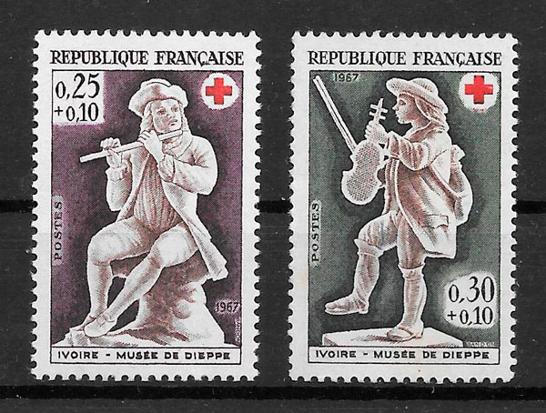 sellos cruz roja Francia 1967
