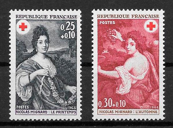 sellos cruz roja Francia 1968
