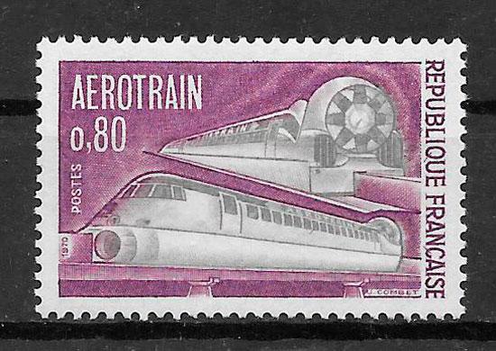 colección sellos trenes Francia 1970