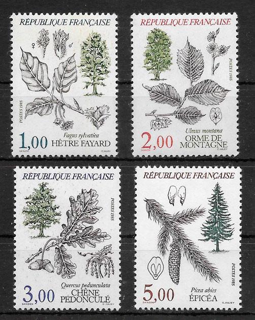 sellos flora Francia 1985