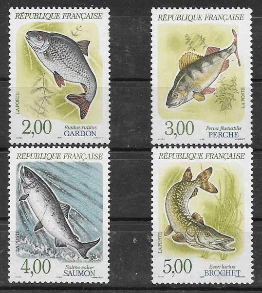 Colección sellos peces Francia 1990
