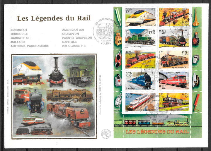 colección sellos trenes Francia 2001