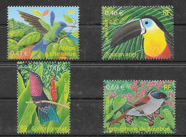 Sellos filatelia aves diversas Francia-2003-01