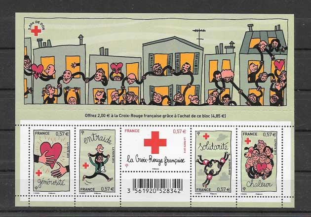 Colección sellos hojita de la solidaridad.