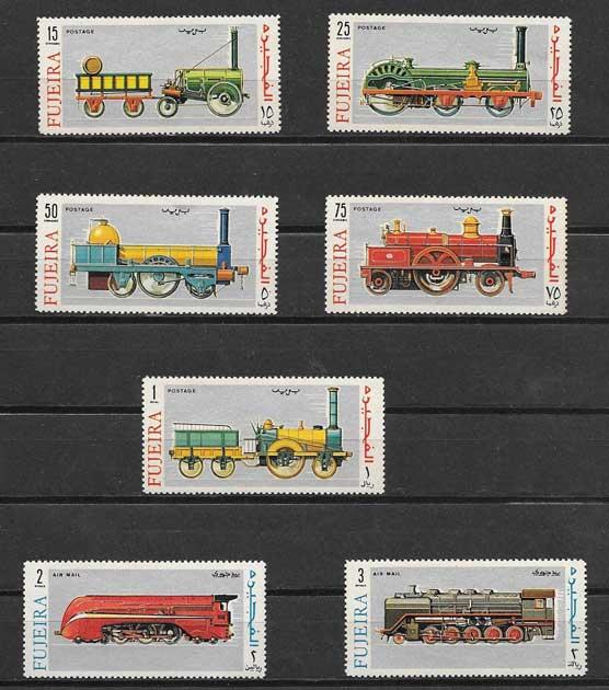 Estampillas transporte ferroviario de Fujeira
