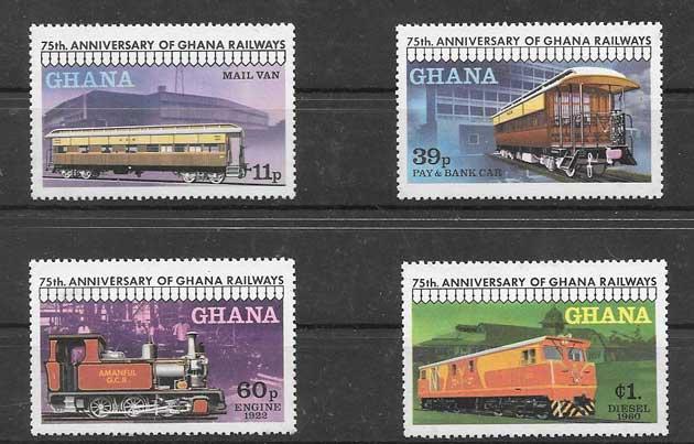 Estampillas trenes de Ghana 1978