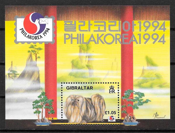 filatelia colección gatos Gibraltar 1994