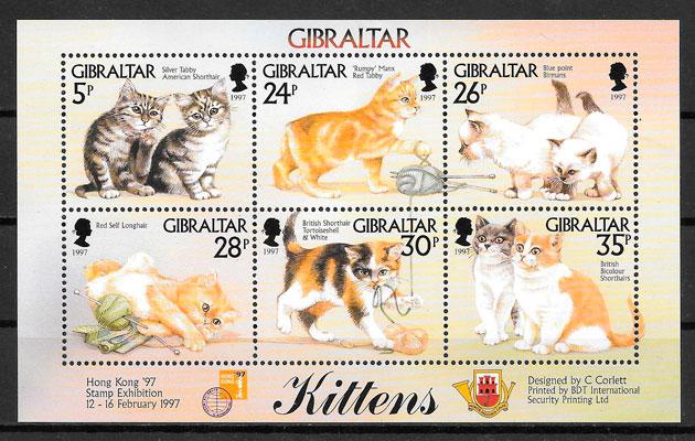 colección sellos gatos y perros Gibraltar 1997