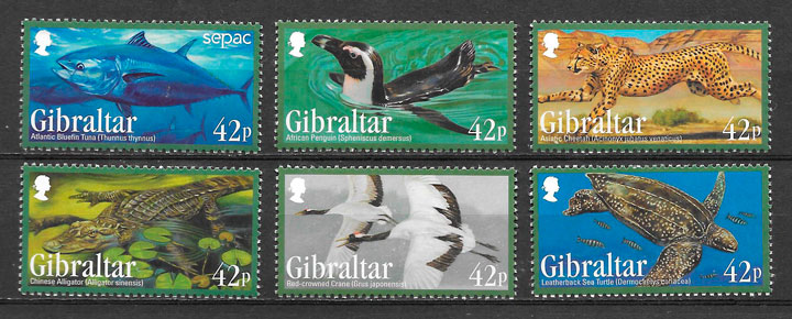 coleccion sellos fauna Gibraltar 2012