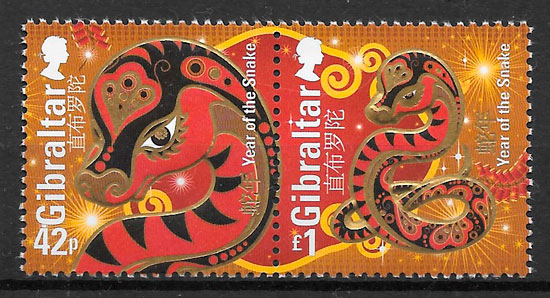 sellos año lunar Gibraltar 2013