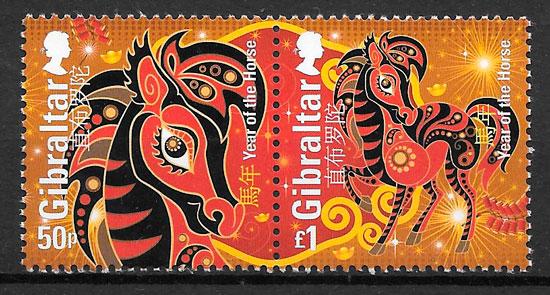sellos año lunar Gibraltar 2014