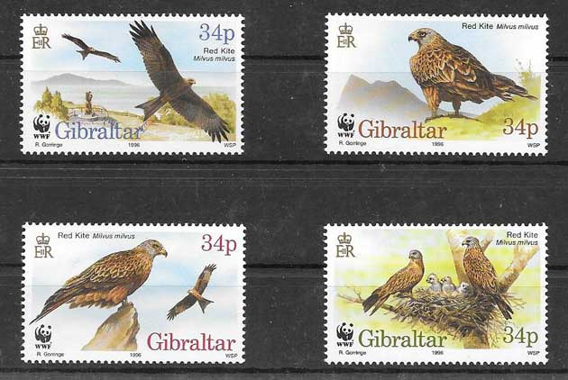 Estampillas fauna protegida Gibraltar 1996