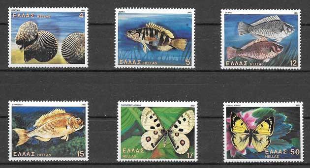 Colección sellos Fauna variada griega 1981