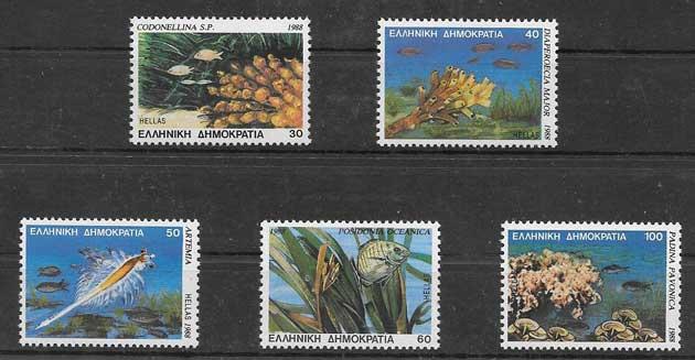 Colección sellos Animaes de los mares griegos