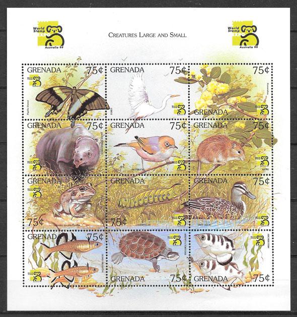 sellos fauna Grenada 1999