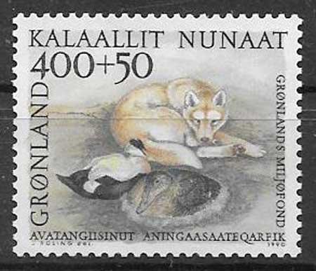 Filatelia fauna Groenlandia - Dinamarca 1990