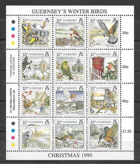 Sellos Navidad - aves Guernsey 1990