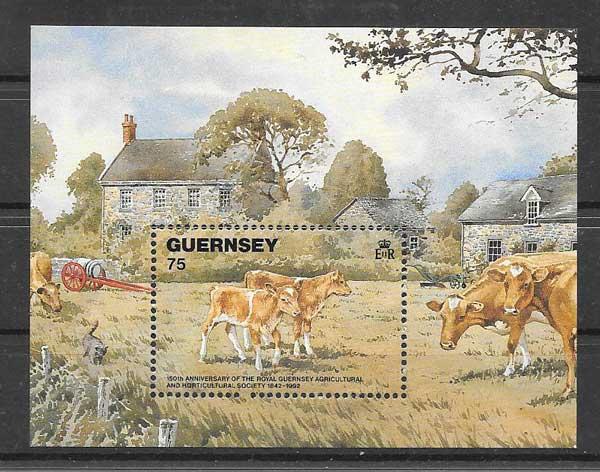 Sellos Fauna de Guersey 1992