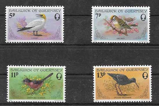 Colección sellos Aves diversas de Guernsey 1978
