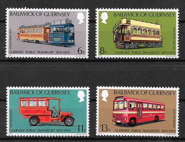 sellos trenes Guernsey 1979