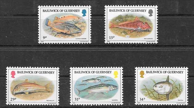 Colección sellos fauna marina Guernsey 1985