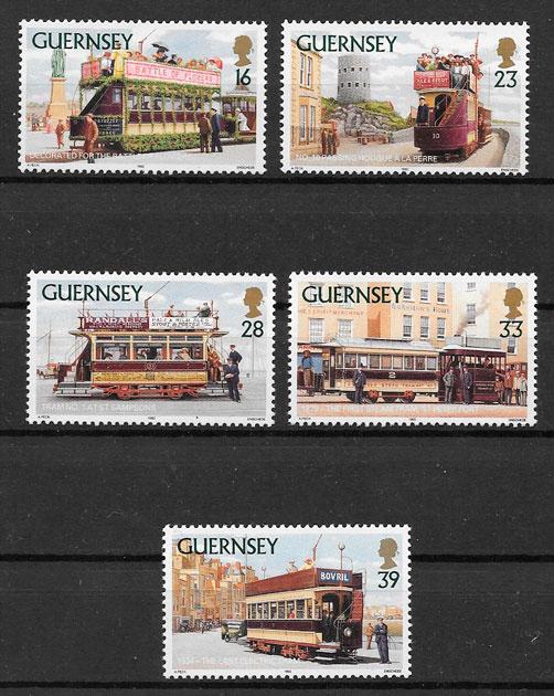 filatelia colección trenes Guernsey 1992