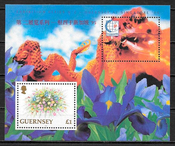 sellos flora Guernsey 1995