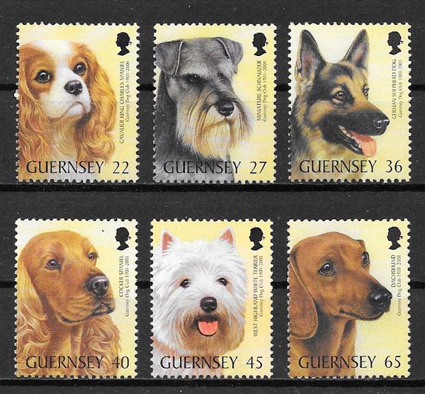 filatelia perros Guernsey 2001