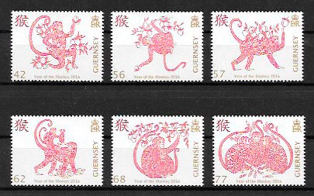 colección sellos año lunar Guernsey 2016