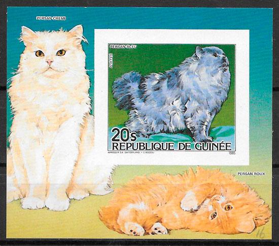 filatelia gatos Guinea 1985