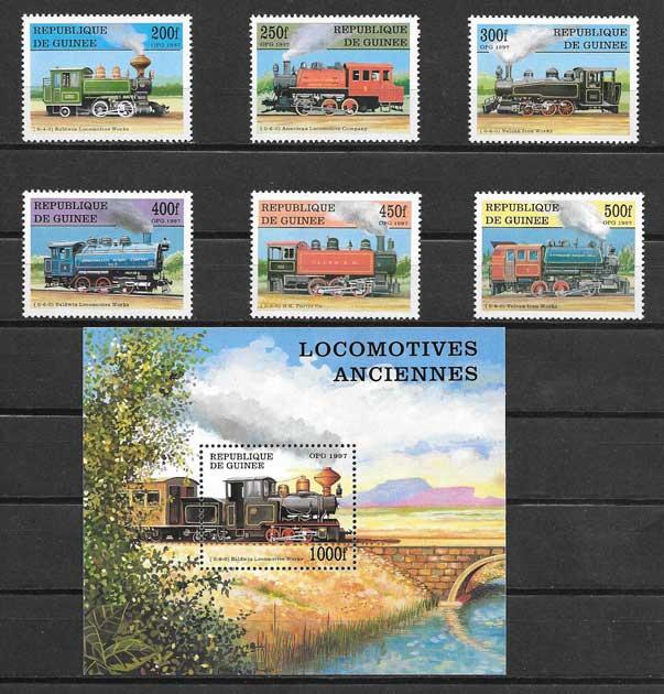 Estampillas locomotoras antiguas Guinea 1997