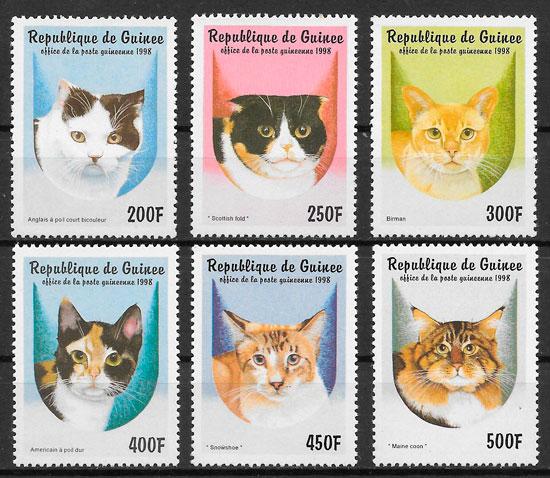 sellos gatos Guinea 1998