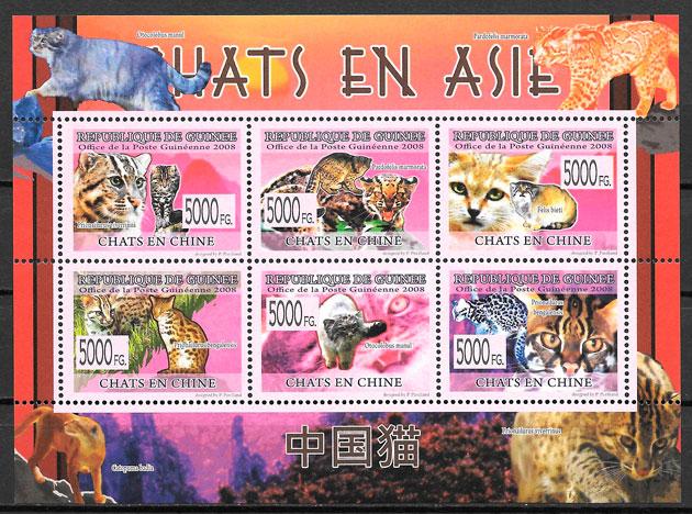 colección sellos gatos Guinea 2008
