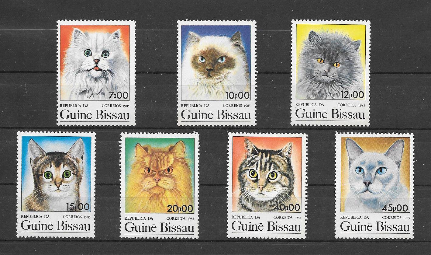 Filatelia sellos razas de gatos de Guinea Bissau