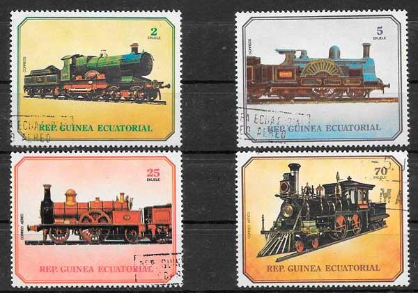 filatelia trenes Guinea Ecuatorial