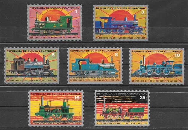 Colección sellos trenes de guinea ecuatorial