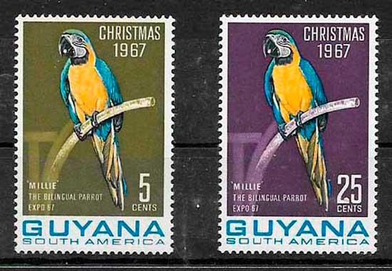 filatelia fauna Guyana 1967