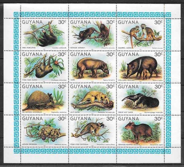 sellos fauna Guyana 1981