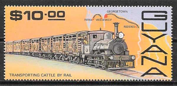 colección sellos trenes Guyana 1987