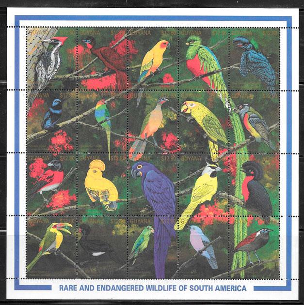 colección sello fauna Guyana 1991