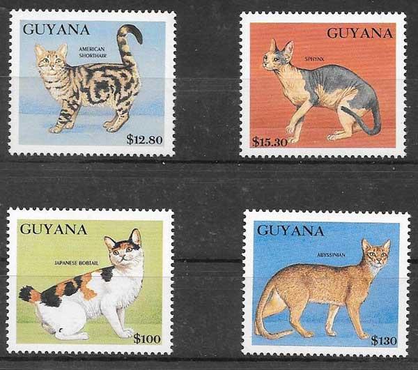 sellos gatos y perros de Guyana 1992