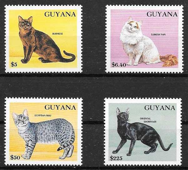 sellos gatos y perros Guyana 1992