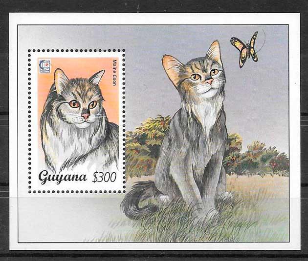 filatelia colección gatos y perros Guyana 1995
