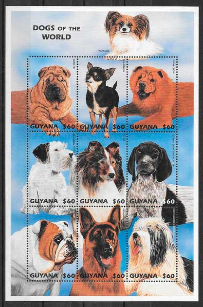 colección sellos gatos y perros Guyana 1997