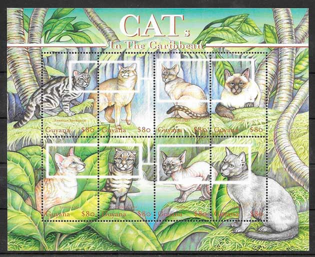 colección sellos gatos y perros Guyana 2001