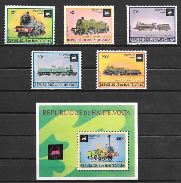 Colección sellos trenes diversos y locomotoras 1973
