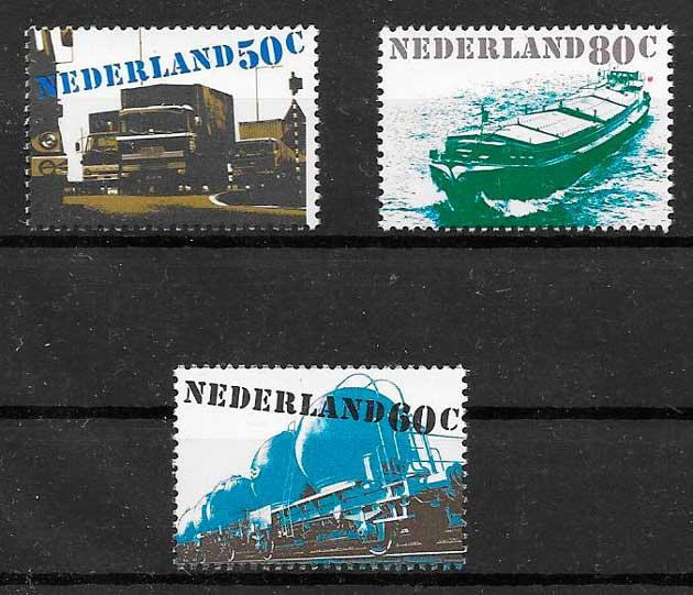 colección sellos trenes Holanda 1980