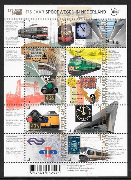 filatelia colección trenes Holanda 2014